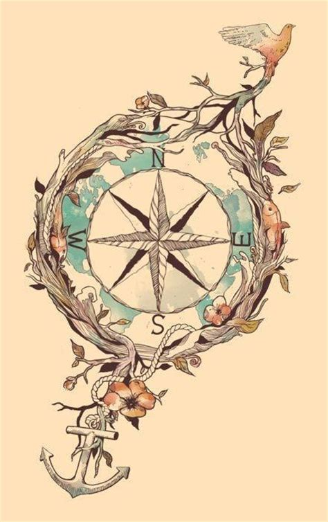 compass anchor bird plants illustration art design