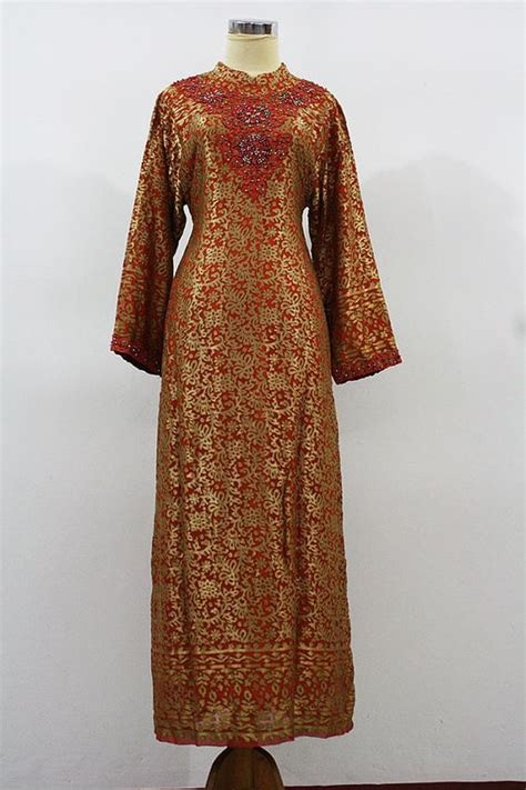 Gamis Abaya Shiny Gold orange gold pattern unique arabic gamis moroccan dress fancy sequin embroidery abaya dubai maxi