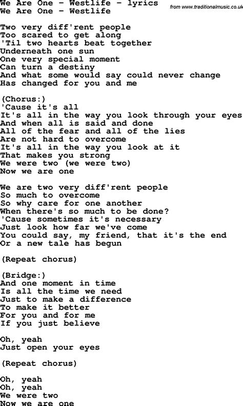 testo one moment in time westlife chords