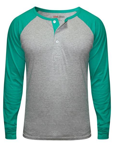 t shirts nologo grey sea green henley raglan sleeves t shirt