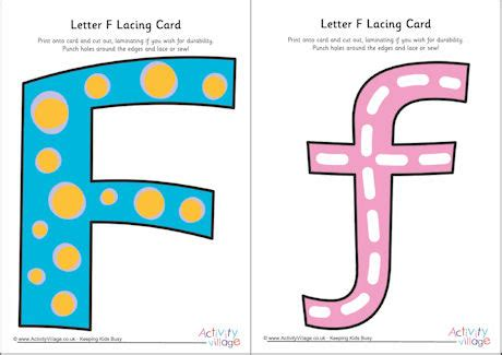 Alphabet Lacing Cards Templates by Letter F Lacing Card