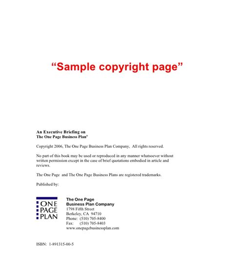 copyright template for book jim horan s 7x10 book template
