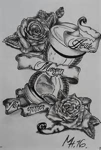 bild tattoovorlagen sanduhr rose fahne von dibeluxe