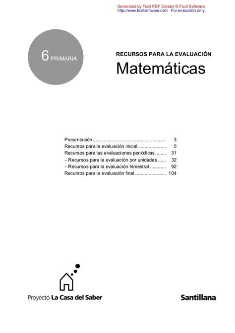 Evaluacion Mate 6 Santillana Slideshare | evaluacion mate 6 santillana