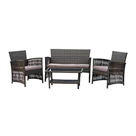 Rattan Wicker Patio Furniture Set Indoor Outdoor 4 Pcs Indoor Outdoor Furniture Sets