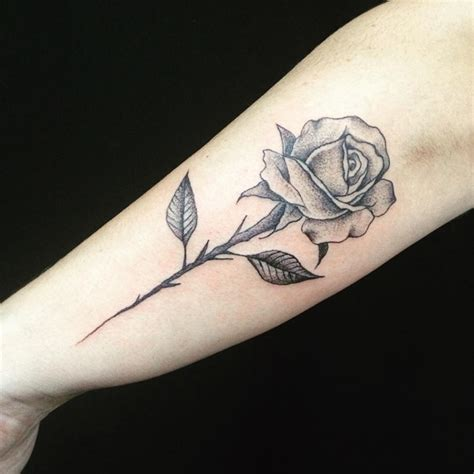 shaded rose tattoo designs black grey shaded on outer forearm