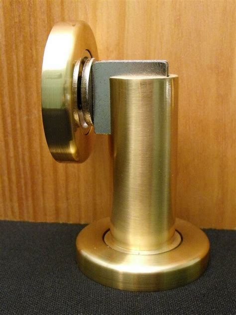 magnetic door stop wallfloor mounted satin brass factory seconds discounted ebay