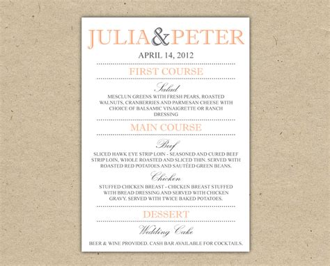Items Similar To Wedding Menu Dinner Custom Wedding Reception Printable Template Country Reception Menu Template