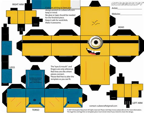 Papercraft Printable - minion papercraft despicable me