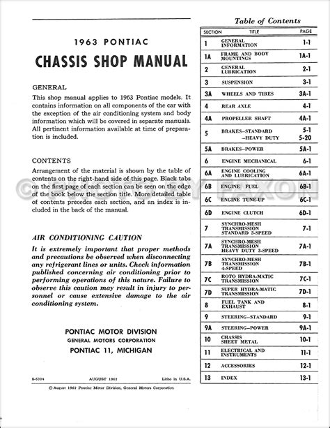 1963 pontiac repair shop manual reprint catalina star chief bonneville grand prix etc