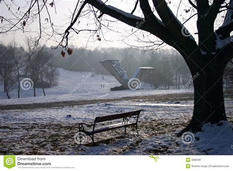 Bench Srbija Bench In Snow Park Stock Image Image 3896381
