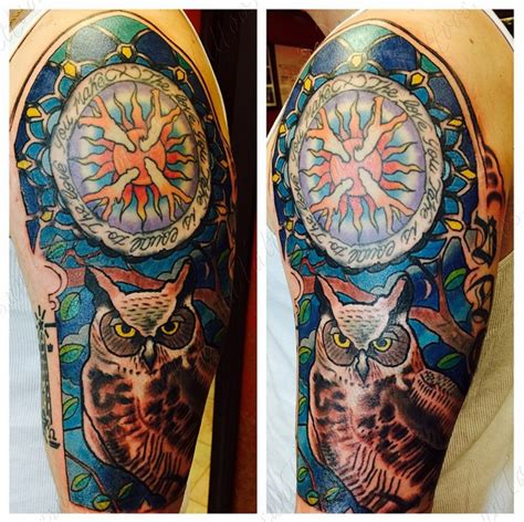 stained glass owl and sun tattoo by jaesun duggan witch