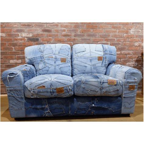 Stool Sofa Vintage Klasik Denim blue recycled denim sofa denim retro vintage