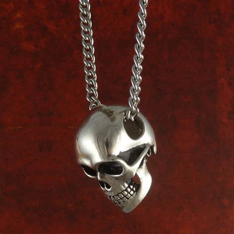 human skull necklace antique silver skull jewelry on 24