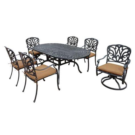 piece patio dining set cusions orig free pickup on hton oakland living cast aluminum 7 piece oval patio dining set