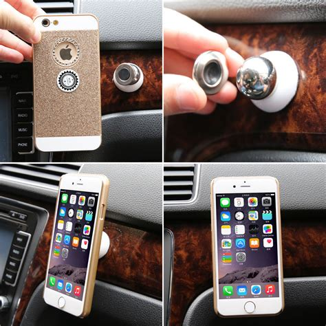 Universal 360 Degree Magnet Car Holder For Smartphone Silver 1 360 degree rotating magnetic phone holder universal car air vent holder mount mobile phone car