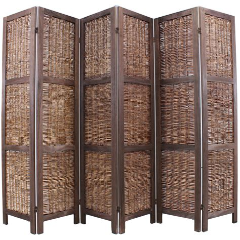 Rattan Room Divider Wooden Framed Wicker Room Divider Privacy Screen Partition Shabby Chic Vintage Ebay