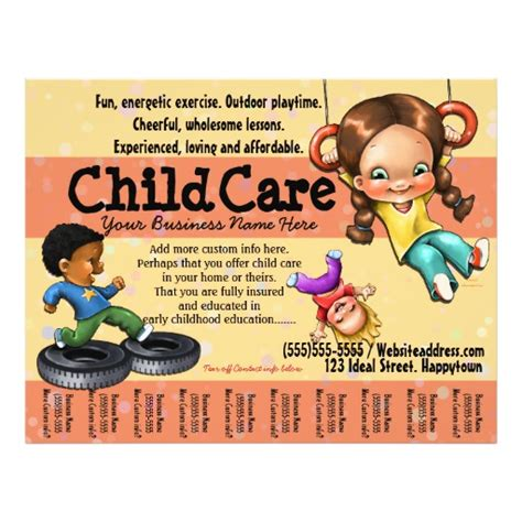 free customizable flyer templates child care day care customizable template personalized