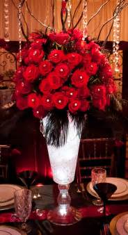 theme black rose feathers and red roses centerpieces gorgeous red and