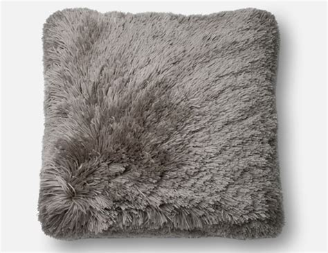steinhafels grey fluffy faux fur pillow