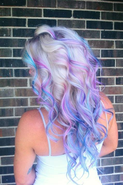 purple highlights in platinum blonde hair platinum ombr 233 with pink purple blue paul mitchell ink