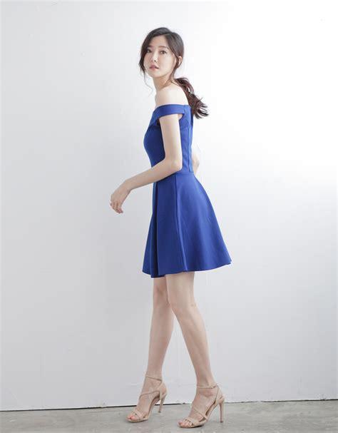 Jfashion Korean Style Midi Dress Motif Dotted kodz womens shoulder midi dress with pleated japanese korean fashion ebay