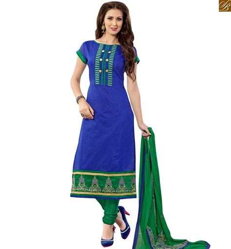 boat neck piping blue colored chanderi salwar kameez with green dupatta