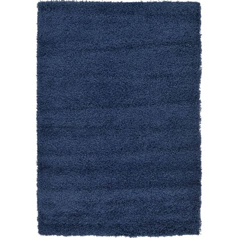 Solid Navy Blue Area Rug Unique Loom Solid Shag Navy Blue 4 Ft X 6 Ft Area Rug 3127894 The Home Depot