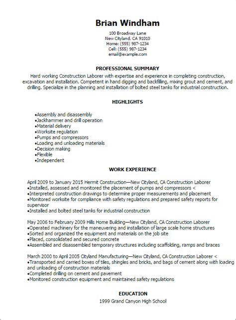 Construction Resume Templates by Professional Construction Laborer Resume Templates To