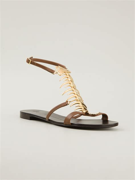 giuseppe zanotti fish sandals giuseppe zanotti fish embellished sandals in brown lyst