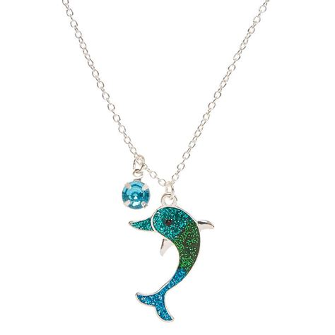 Dolphin Necklace blue ombre glitter dolphin pendant necklace s us
