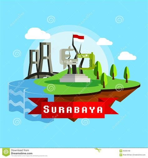 design graphic surabaya surabaya city scape vector in flat style stock vector