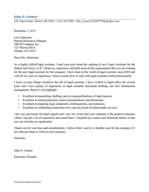 legal assistant cover letter sample wonderful lawyer inmple letters