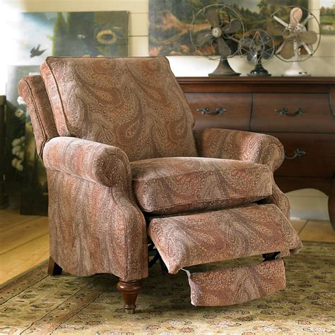 classic elegant neutral fabric recliner with panel arms