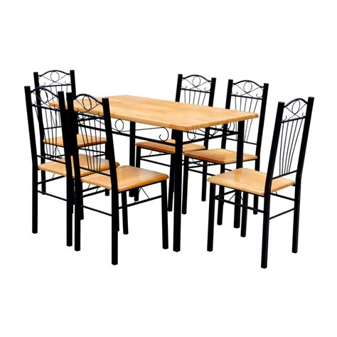 6 Dining Table Chairs Vidaxl Co Uk Dining Table And 6 Chairs Light Wood