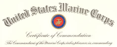 file commandant of the marine corps certificate of
