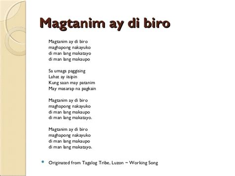 song tagalog philippine pre colonial folk songs