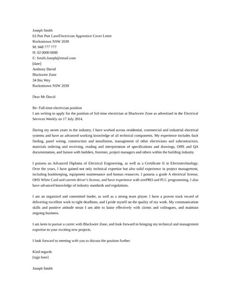 cover letter exles electrician apprentice basic industrial electrician cover letter sles and