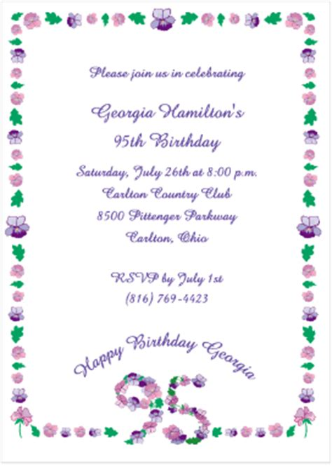 Floral 95 Birthday Invitations