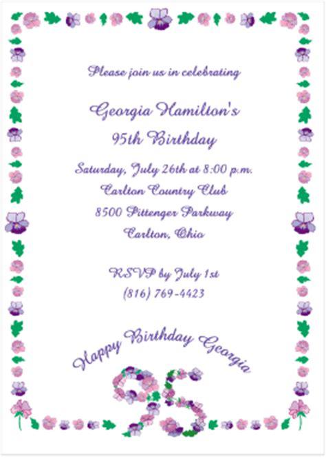 Floral 95 Birthday Invitations