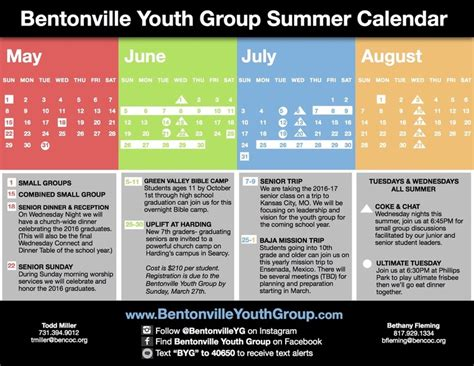 Bentonville School Calendar Category Summer Calendar Bentonville Youth