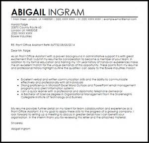 Front Desk Assistant Cover Letter by Front Office Assistant Cover Letter Sle Livecareer