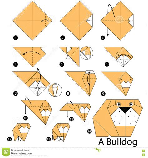 Origami Bulldog - free coloring pages step by step how to make
