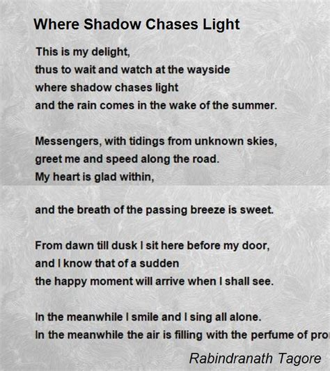 light poems where shadow chases light poem by rabindranath tagore