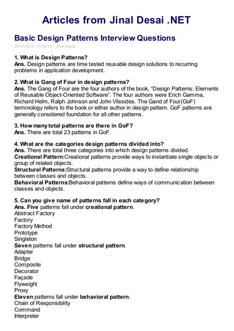 Design Pattern Interview Questions C | basic design pattern interview questions
