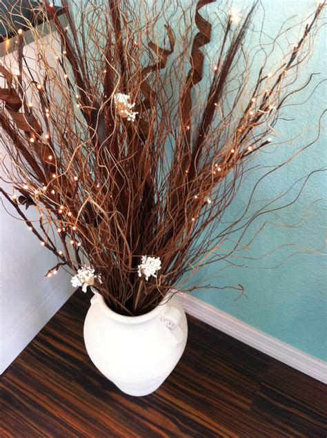 lighted branches in painted pot tree branch decor