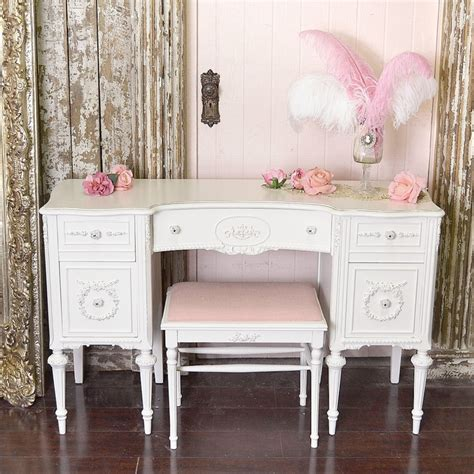 vintage vanity desk from 1920s in white apartment