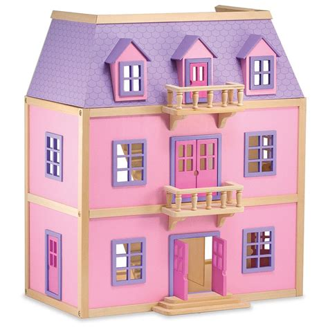 wooden doll house canada melissa doug 174 multi level wooden dollhouse 219236 toys at sportsman s guide