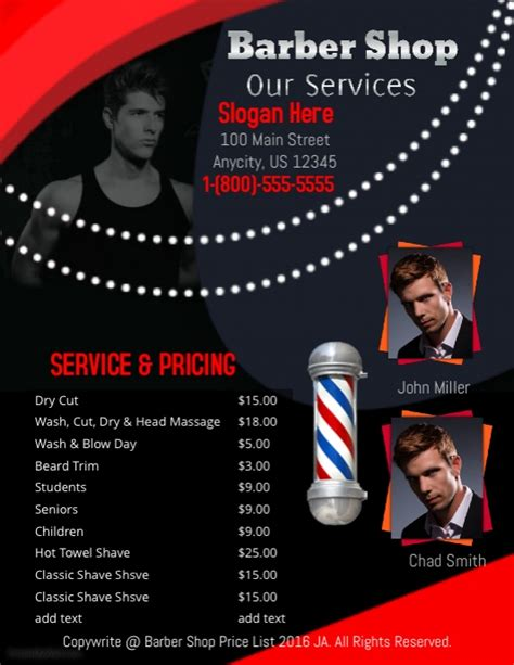 barber shop price list template barber shop price list template postermywall