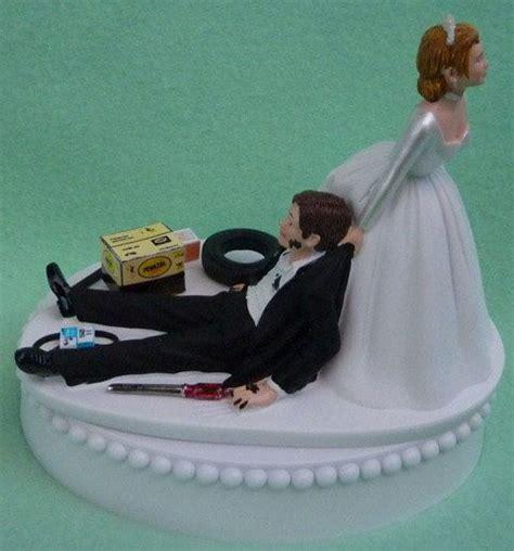 wedding cake topper auto mechanic grease monkey racing car truck themed w bridal garter